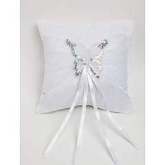 Ehering Kissen in weißem Satin mit Schmetterling dekoriert Trauung