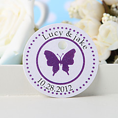 cheap Stickers, Labels & Tags-Personalized Favor Tag - Purple Butterfly (Set of 36) Wedding Favors