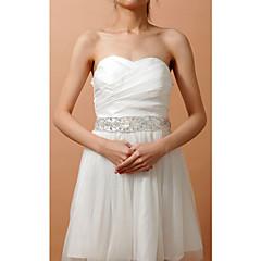 Χαμηλού Κόστους Κορδέλες για πάρτι-Ελαστικό Σατέν Γάμου / Πάρτι / Βράδυ Ζώνη Με Κρυσταλλάκια / Χάντρες Γυναικεία Ζώνες για Φορέματα