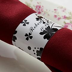 gepersonaliseerde papieren servetring - zwarte bloem (set van 50) huwelijksreceptie