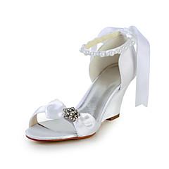 cheap Wedding Shoes-Women's Shoes Satin / Stretch Satin Spring / Summer Wedge Heel Rhinestone / Bowknot / Imitation Pearl Pink / Champagne / Ivory / Wedding