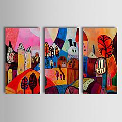 billiga Oljemålningar-Hang målad oljemålning HANDMÅLAD - Abstrakt Klassisk / Traditionell Inkludera innerram / Tre paneler / Sträckt kanfas