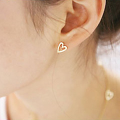 cheap Women's Jewelry-Women's Stud Earrings - Heart Simple Style, Fashion Gold / Silver For Party / Daily / Casual
