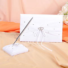 cheap Guest Book and Pens for Wedding-Guest Book Pen Set Satin Organza Garden ThemeWithRhinestone Bowknot