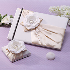 Guest Book Pen Set Satin Garden ThemeWithSash Faux Pearl Wedding Ceremony