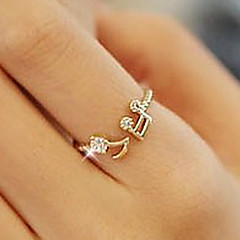 Women's Band Rings Love Open Cute Style Costume Jewelry Adjustable Rhinestone Alloy Music Notes Jewelry For Party Daily Casual