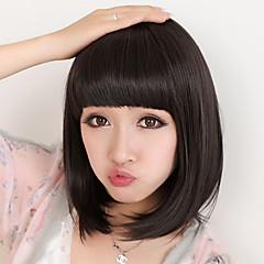 billiga Peruker och hårförlängning-Syntetiska peruker Rak Bob-frisyr / Med lugg Syntetiskt hår Natur Svart Peruk Dam Mellan svart peruk / Naturlig peruk Utan lock Dagligen