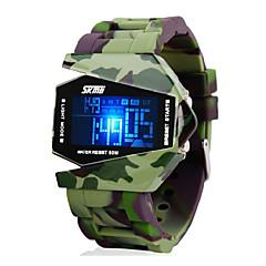 SKMEI 男性用 軍用腕時計 リストウォッチ デジタルウォッチ デジタル LED LCD カレンダー クロノグラフ付き 耐水 アラーム シリコーン バンド グリーン