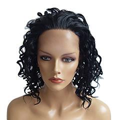 billiga Peruker och hårförlängning-Syntetiska peruker / Syntetiska snörning framifrån Lockigt Frisyr i lager Syntetiskt hår Vattenfall Naturlig Peruk Dam Mellan Mellan /