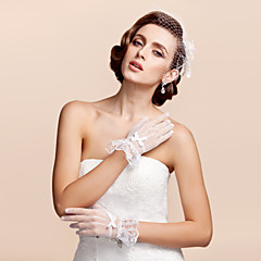 cheap Party Accessories-Lace Tulle Wrist Length Glove Bridal Gloves Party/ Evening Gloves With Bowknot