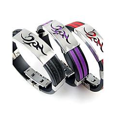 Муж. Браслет цельное кольцо Кожаные браслеты Браслет Уникальный дизайн бижутерия Rock Мода Нержавеющая сталь Силикон Бижутерия Бижутерия