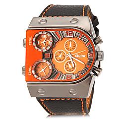 お買い得  メンズ ウォッチ-Oulm 男性用 リストウォッチ 軍用腕時計 クォーツ 3タイムゾーン PU バンド チャーム ブラック