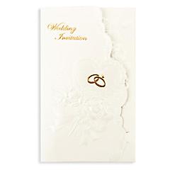 """tanie Zaproszenia ślubne-Składanie na trzy Zaproszenia ślubne 50 - Zaproszenia Styl kwiatowy Perłowy papier 7 1/5 """"x 5"""" (18,4 * 12.8cm)"""