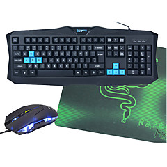 V90 bedrade usb optionele waterdichte gaming toetsenbord + muis + muismat