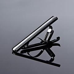 Oameni simpli lui Argintiu / Negru 316L oțel inoxidabil Clipuri CZ stras Tie