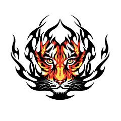 Tűz tigris mintás dekorációs autós matrica