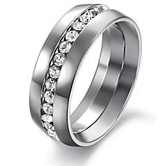 Mode Single Shiny Diamond Smooth Titanium Staal Heren Single Ring
