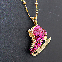 Lureme®Delicate Cute Alloy Rhinestone Ice Skate Shoe Pendant Necklace