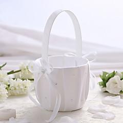 branco de noiva de cetim cesta de flores, cesta de strass daminha