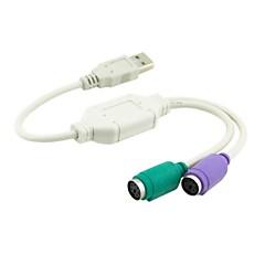 voordelige -dual ps2 ps / 2 mini din 6pin naar USB 2.0 adapter converter kabel voor pc laptop toetsenbord muis