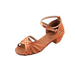 Mulheres Sapatos de Dança Latina / Dança de Salão Cetim Sandália Salto Baixo Não Personalizável Sapatos de Dança Bronze / Crianças / Camurça