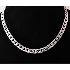European  (Geometric)  Titanium Steel Chain Necklace(Silver) (1 Pc) Jewelry Gifts