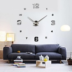 cheap Wall Clocks-Frameless Large DIY Wall Clock, Modern 3D Wall Clock with Mirror Numbers Stickers for Office Living Room Bedroom Kitchen Bar Clock Plate