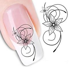 billige Negleklistremerker-1 pcs Vannoverføringsklistre / Nail Sticker Blomst / Nail Decals / Nail Art DIY Tool Accessory Nail Art Design