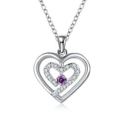 cheap Necklaces-Women's Single Strand Princess Heart Shape Cubic Zirconia Rhinestone Sterling Silver Cubic Zirconia Silver Wedding Party Special Occasion