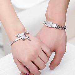 chave e fechadura pulseiras de aço inoxidável com caixa de presente