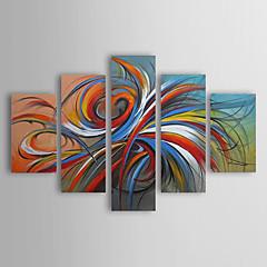 Недорогие Картины и постеры-картины маслом современные абстрактные красочные круги ручная роспись холст пять панелей готовы повесить