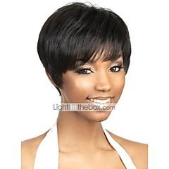 billige Lågløs-Menneskehår Lågløs Paryk Brasiliansk hår Naturlig lige Paryk Pixie frisure Natur Sort Dame Kort Human Hair Capless Parykker