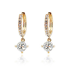 Hoop Earrings Zircon Cubic Zirconia Silver Plated Rose Gold Plated 18K gold Classic Gold Silver Purple Jewelry 2pcs