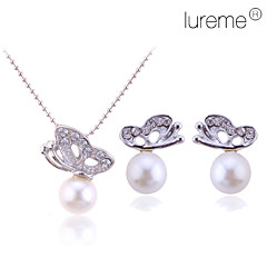 Lureme women's Crystal Butterfly Pearl Necklace Earrings Set