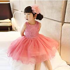 お買い得  女児 ドレス-女の子の丸い襟のスパンコールノースリーブの王女のドレス(もっと色)