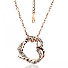Roxi das mulheres subiu de ouro chapeado com aaa zircão duplo coração colares (1 pç)