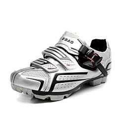 billige Sykkelsko-Herre / Dame / Unisex Sykkelsko / Mountain Bike-sko Nylon, Glassfiber, Luftstrømsventiler, Ikke-skli Tråd Sykling / Sykkel Anti-Skli, Slitasje-sikker PVC Lær Hvit / Svart / Sølv / Svart