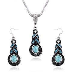 Mulheres Conjunto de Jóias Brincos Compridos Colares com Pendentes Sapphire sintético Europeu Vintage Pedras preciosas sintéticas