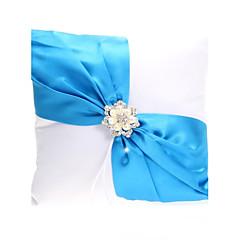 זול טכס חתונה-כרית טבעת נישואים אלגנטית עם אבנט כחול& פנינים