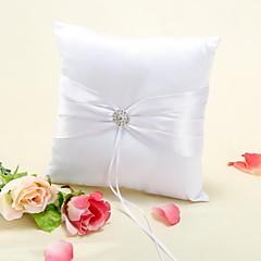 anel travesseiro em cetim branco com strass