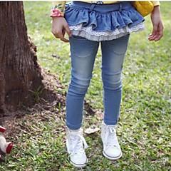 billige Jeans til piger-Jeans Ensfarvet Forår Efterår Blå