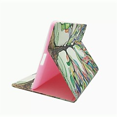 värikäs puu kuvio pu nahkakotelo jalustan ja korttipaikka iPad 2/3/4