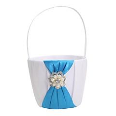 elegante cesto di fiori di nozze con raso blu& perle fiore ragazza cesto