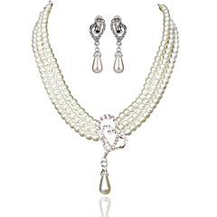 billige Halskæder-Dame Imiteret Perle Simuleret diamant Kort halskæde - Imiteret Perle Simuleret diamant Legering Basale Mode Geometrisk form Halskæder