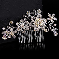 cheap Hair Jewelry-Material Sterling Silver Alloy Hair Combs Flowers Headpiece with Beading Wedding Party Special Occasion Headpiece