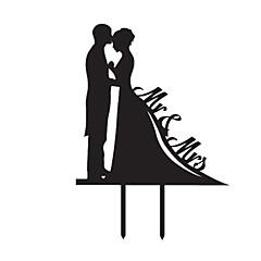 Figurky na svatební dort Nepřizpůsobeno Klasický pár Akryl Výročí / Párty pro nevěstu / Svatba Černá Zahradní motiv 1 OPP