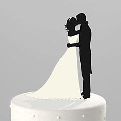 קישוטים לעוגה לא מותאם אישית זוג קלסי אקרילי חתונה / יום שנה / מסיבה לכלה שחור נושאי גן 1 OPP