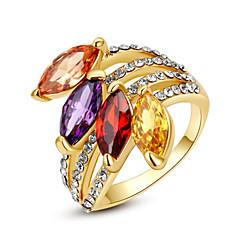 billige Motering-Dame Krystall Fuskediamant Statement Ring - Geometrisk Form Klassisk / Mote Regnbue / Gjennomsiktig / Lysebrun Ringe Til Fest