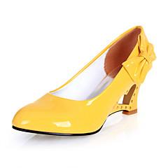 cheap Women's Heels-Women's Leatherette Spring / Summer Novelty Wedge Heel Bowknot Black / Yellow / Red / Dress