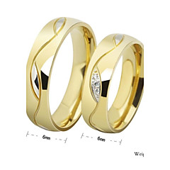 男性用 女性用 カップルリング バンドリング 幸福 シンプルなスタイル ラインストーン チタン鋼 円形 ジュエリー 用途 結婚式 パーティー 日常 カジュアル